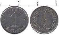 Изображение Дешевые монеты Франция 1 сантим 1963 нержавеющая сталь XF-