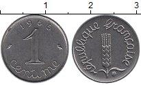 Изображение Дешевые монеты Франция 1 сантим 1965 нержавеющая сталь XF