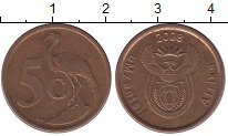 Изображение Дешевые монеты ЮАР 5 центов 2008 Медь VF Цапля