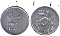 Изображение Дешевые монеты Южная Корея 1 вон 1970 Алюминий XF-