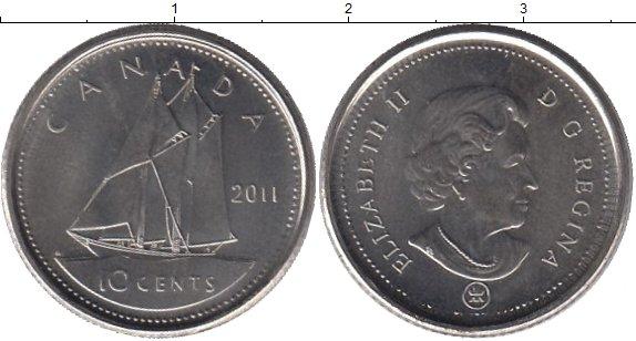 Картинка Дешевые монеты Канада 10 центов Медно-никель 2011
