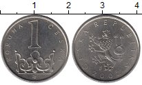 Изображение Дешевые монеты Чехия 1 крона 2002 Сталь покрытая никелем XF