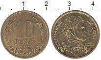 Изображение Дешевые монеты Чили 10 песо 2011 Латунь-сталь XF