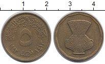 Изображение Дешевые монеты Египет 5 пиастров 1992 Латунь XF-