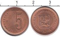 Изображение Дешевые монеты Венесуэла 5 сентим 2007 сталь с медным покрытием XF
