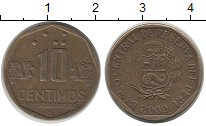 Изображение Дешевые монеты Перу 10 сентим 2000 Латунь VF+