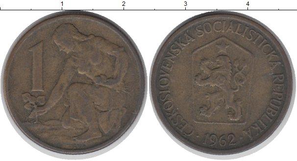 Картинка Дешевые монеты Чехословакия 1 крона Латунь 1962