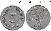 Изображение Дешевые монеты Тунис 5 миллим 1960 Алюминий XF-