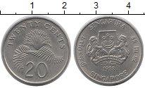 Изображение Дешевые монеты Сингапур 20 центов 1988 Медно-никель XF