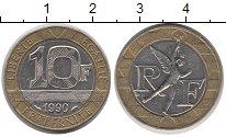 Изображение Дешевые монеты Франция 10 франков 1990 Биметалл XF-