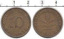 Изображение Дешевые монеты ФРГ 10 пфеннигов 1950 Латунь-сталь VF+