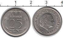 Изображение Дешевые монеты Нидерланды 25 центов 1958 Медно-никель XF-