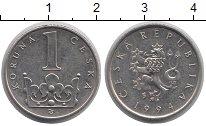 Изображение Дешевые монеты Чехия 1 крона 1994 Сталь покрытая никелем XF