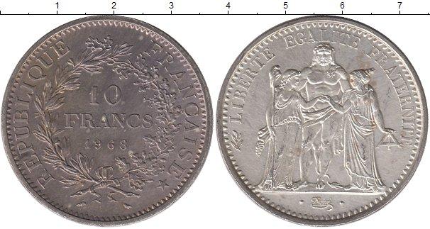 Картинка Монеты Франция 10 франков Серебро 1968