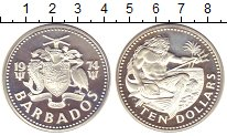 Изображение Монеты Барбадос 10 долларов 1974 Серебро Proof Морской  царь
