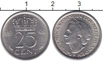 Изображение Монеты Нидерланды 25 центов 1948 Медно-никель UNC-