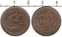 Изображение Монеты Сейшелы 10 центов 2007 Латунь XF
