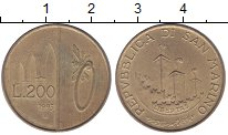 Изображение Монеты Сан-Марино 200 лир 1993 Латунь VF