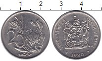 Изображение Монеты ЮАР 20 центов 1980 Медно-никель XF