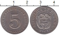 Изображение Монеты Панама 5 сентесимо 1961 Медно-никель XF