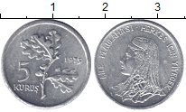 Изображение Монеты Турция 5 куруш 1975 Алюминий XF