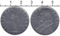 Изображение Монеты Ватикан 100 лир 1955 Медно-никель XF Пий XII