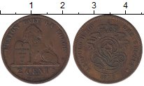 Изображение Монеты Бельгия 2 сантима 1870 Бронза VF Леопольд II