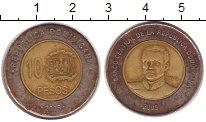 Изображение Монеты Доминиканская республика 10 песо 2005 Биметалл VF