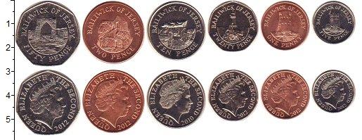 Изображение Наборы монет Остров Джерси Остров Джерси 2010-2012 2012  UNC- В наборе 6 монет ном