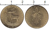 Изображение Монеты Ватикан 20 лир 1973 Латунь UNC-