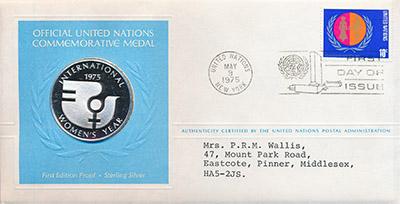 Изображение Подарочные монеты США Медаль ООН 1975 Серебро Proof `Памятная медаль ООН