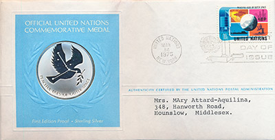 Изображение Подарочные монеты США Медаль ООН 1975 Серебро Proof