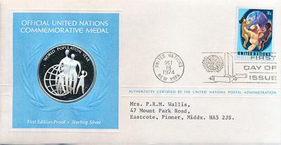 Изображение Подарочные наборы США Медаль ООН 1974 Серебро Proof