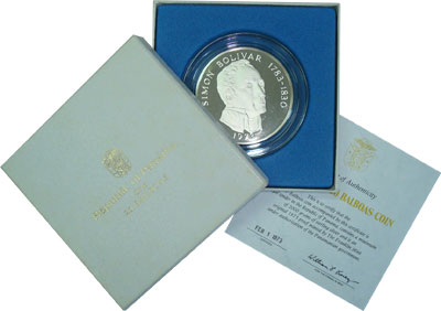 Изображение Подарочные монеты Панама Симон Боливар 1973 Серебро UNC Монета номиналом 20