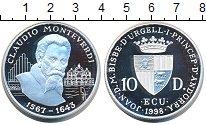 Изображение Монеты Андорра 10 динерс 1998 Серебро Proof Клаудио Монтеверди
