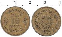 Изображение Дешевые монеты Марокко 10 франков 1371 Латунь VF