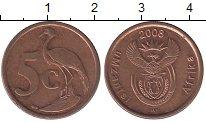 Изображение Дешевые монеты ЮАР 5 центов 2008 сталь с медным покрытием XF