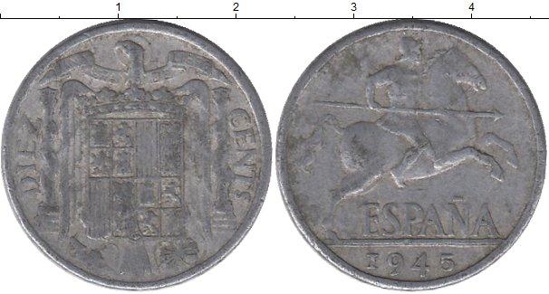 Картинка Дешевые монеты Испания 10 сентим Алюминий 1945