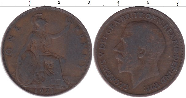Картинка Дешевые монеты Великобритания 1 пенни Медь 1921