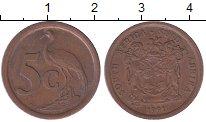Изображение Дешевые монеты ЮАР 5 центов 1991 Медь XF-