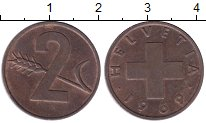 Изображение Дешевые монеты Швейцария 2 раппа 1969 Медь XF