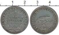 Изображение Монеты Анхальт-Бернбург 1/6 талера 1861 Серебро XF+ Александр Карл