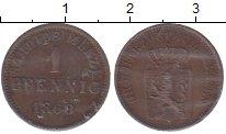 Изображение Монеты Гессен-Дармштадт 1 пфенниг 1868 Медь XF+ Людвиг III