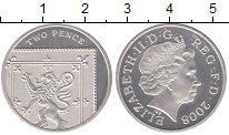 Изображение Монеты Великобритания 2 пенса 2008 Серебро Proof- Елизавета II
