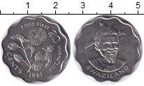 Изображение Монеты Свазиленд 20 центов 1981 Медно-никель UNC ФАО