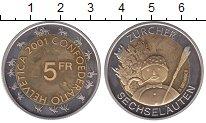 Изображение Монеты Швейцария 5 франков 2001 Биметалл UNC-