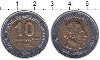 Изображение Монеты Уругвай 10 песо 2000 Биметалл UNC- Хосе  Артигас