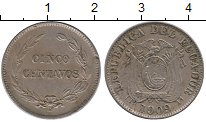 Изображение Монеты Эквадор 5 сентаво 1909 Медно-никель XF