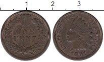 Изображение Монеты США 1 цент 1891 Бронза XF