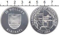Изображение Монеты Кирибати 10 долларов 1984 Серебро Proof- 5 - летие  Независим
